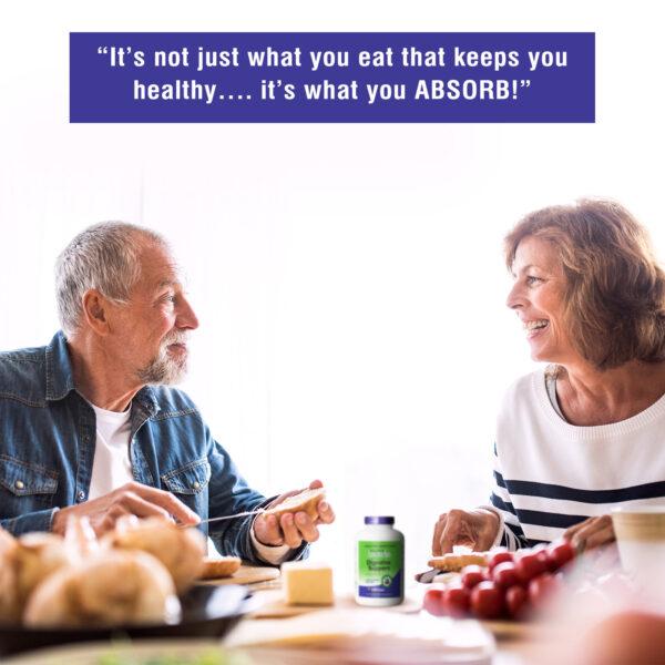 AbsorbAid Original 240 Digestive Enzymes older couple eating