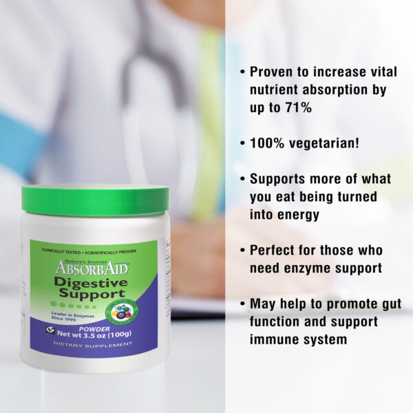 AbsorbAid Original 100g Digestive Enzyme Powder features